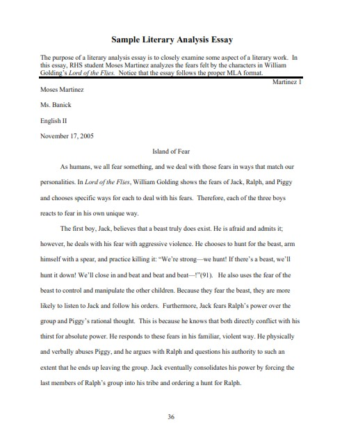 Literary Analysis Essay Example (PDF)