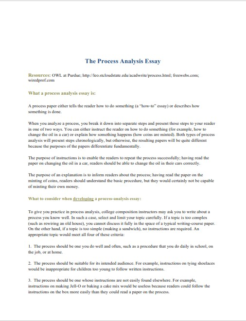 Process Analysis Essay Example (PDF)