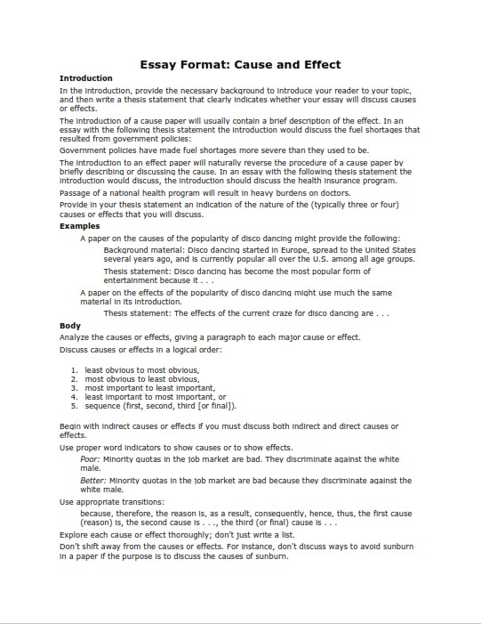 Cause and Effect Essay Format Example (PDF)