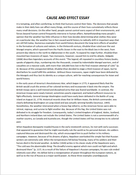 Cause and Effect Essay Sample  (PDF)