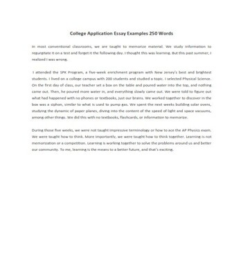 Sample College Application Essay 250 Words (PDF)