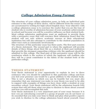 College Application Essay Format (PDF)