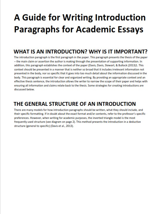 Essay Introduction Sample and Writing Guide   (PDF)
