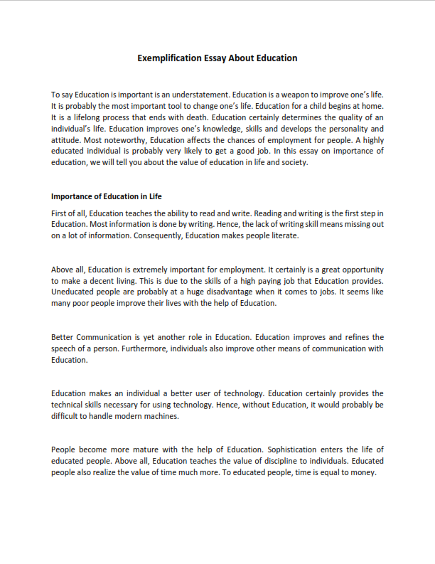 Exemplification Essay About Education