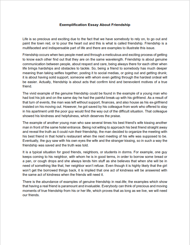 Exemplification Essay About Friendship