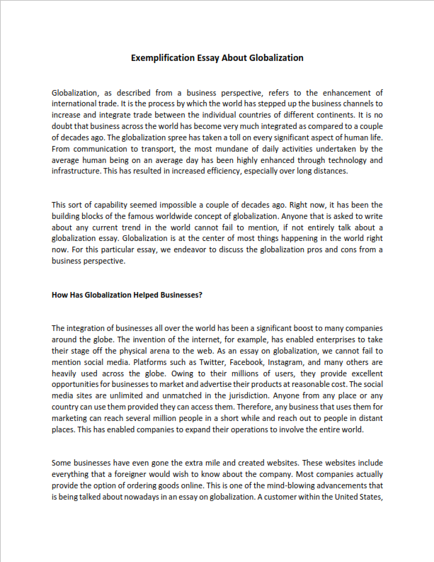 Exemplification Essay About Globalization