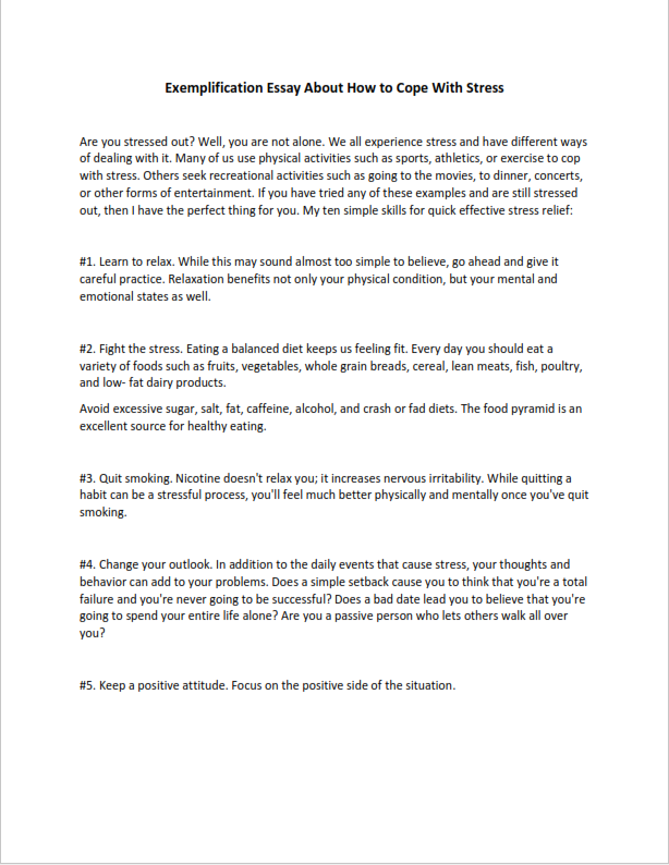 Exemplification Essay About How to Cope With Stress