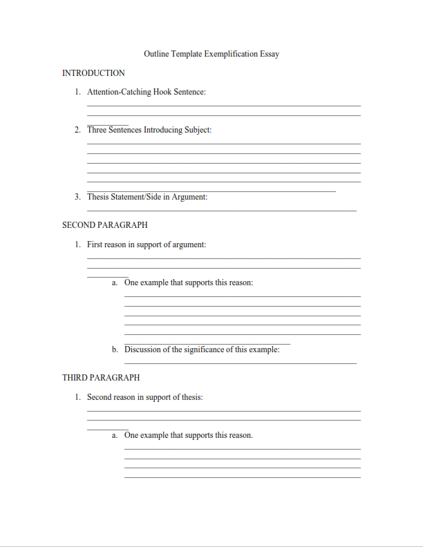 Exemplification Essay Outline Template