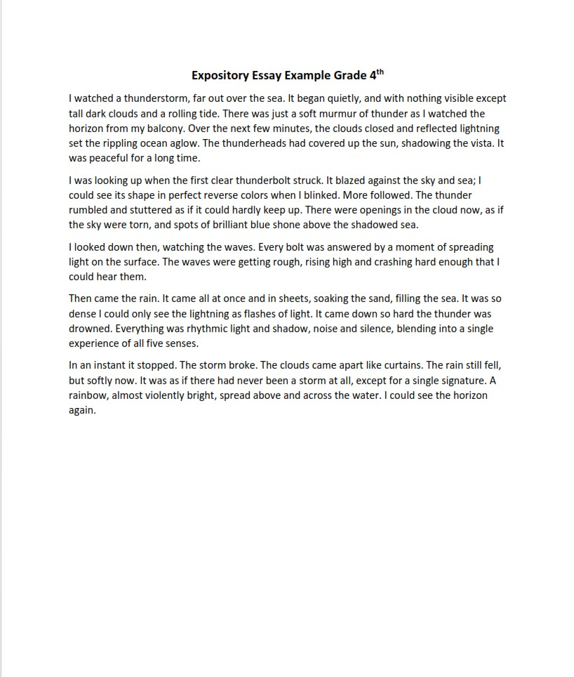 Expository Essay Example for 4th Grade
