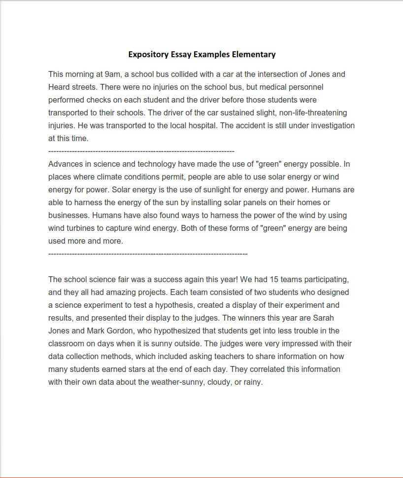 Expository Essay Examples for Elementary School