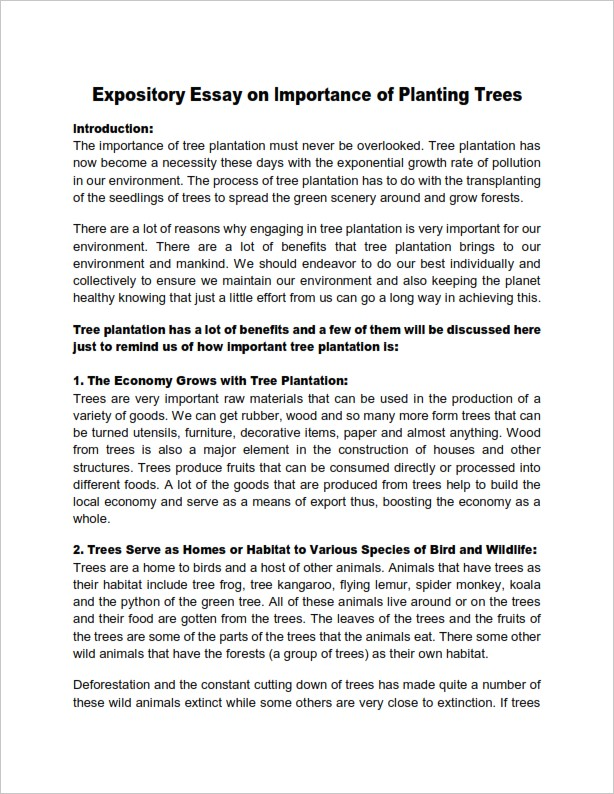 Expository Essay on Importance of Planting Trees   (PDF)