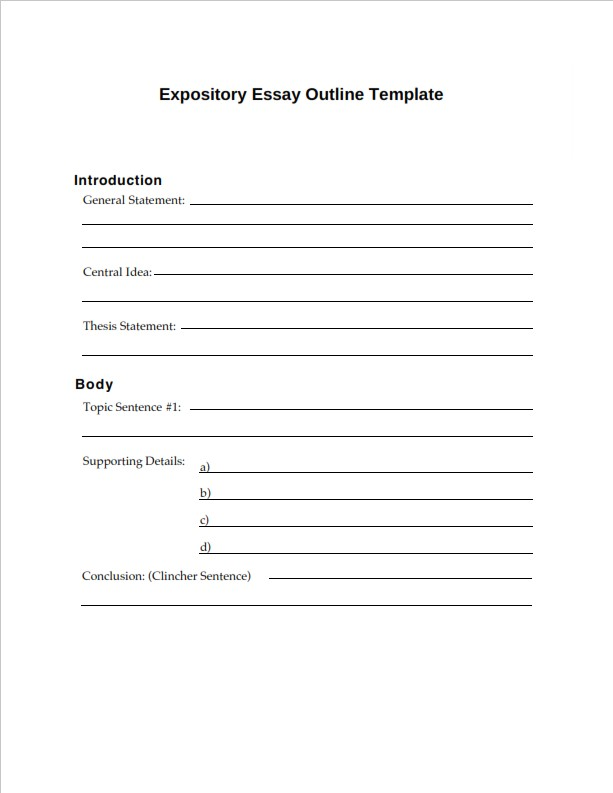 Expository Essay Outline Template  (PDF)