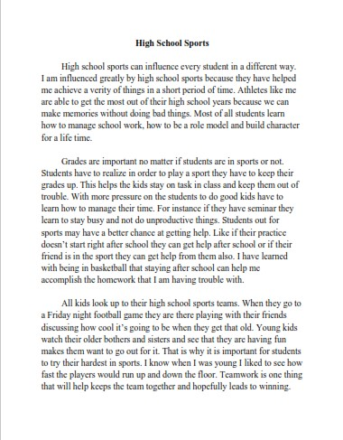 Persuasive Essay Example for High School Sports (PDF)