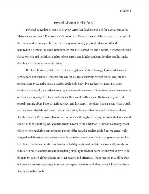 Persuasive Essay Sample for Students  (PDF)