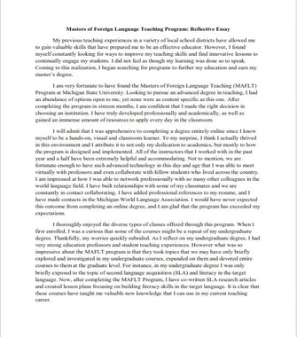 Example of Reflective Essay