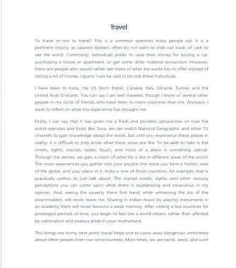 Reflective Essay Example About Travel