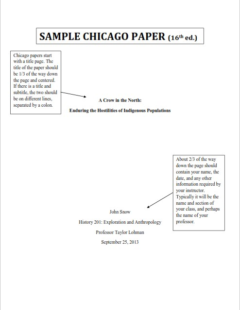 Chicago Research Paper Sample (PDF)