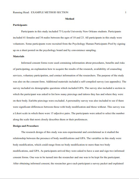 Methods Section in Research Sample (PDF)