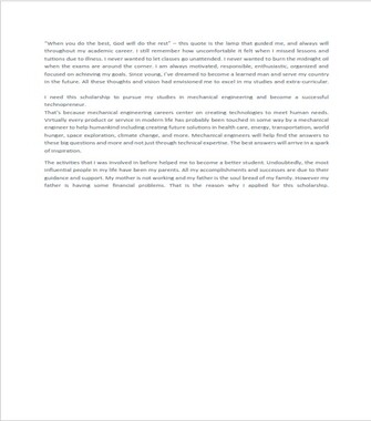 Scholarship Essay Examples for Engineering