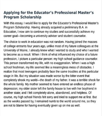 Scholarship Essay Examples for Masters