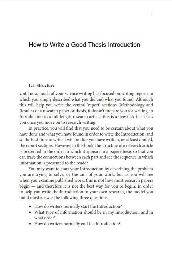 Good Thesis Introduction