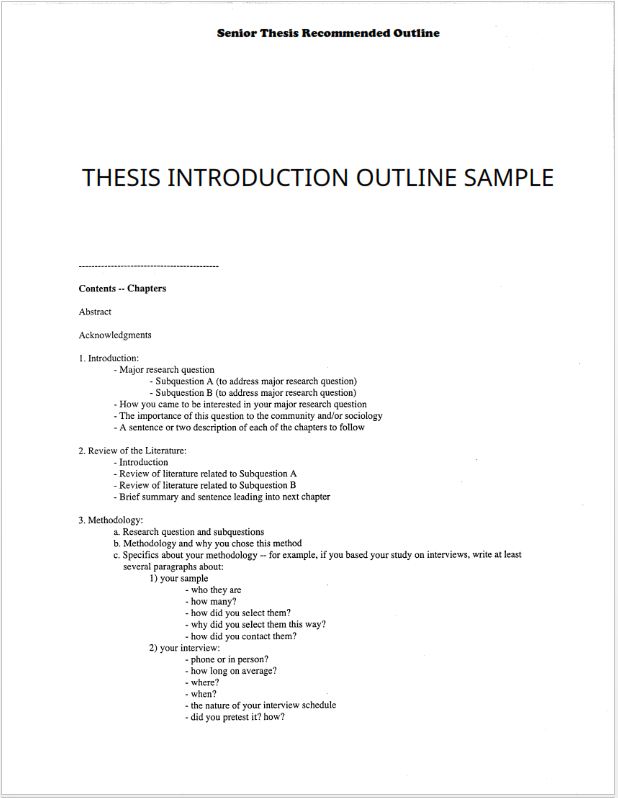 Thesis Introduction Outline Sample